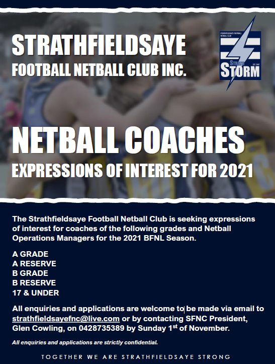 Expressions of Interest - 2021 Strathfieldsaye FNC coaching positions